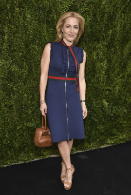 Actress Gillian Anderson attends the Through Her Lens: The Tribeca Chanel Women's Filmmaker Program Luncheon at Locanda Verde on Tuesday, Oct. 25, 2016, in New York. (Photo by Evan Agostini/Invision/AP)